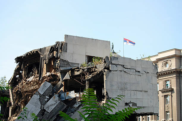 Ruin of Bombed Building - Belgrade - Serbia stock photo