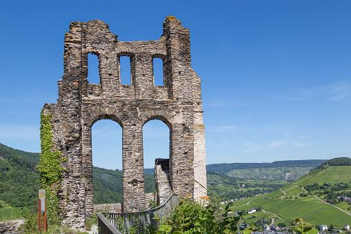 Ruin of castle Grevenburg near Traben-Trarbach along German river Moselle