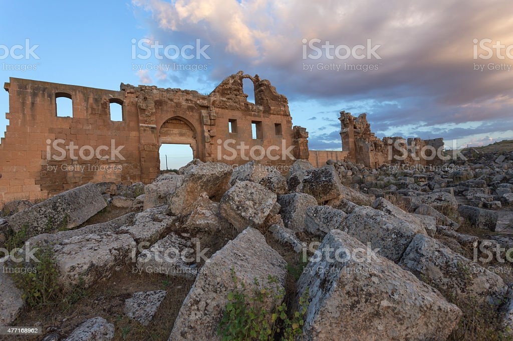 Ruin of first university in Turkey. stock photo