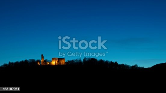 Illuminated ruin of limburg castle - Bad Duerkheim, Palatinate, Germany
