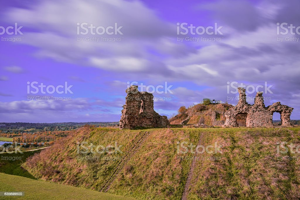 Ruin of medieval Sandal Castle royalty-free stock photo
