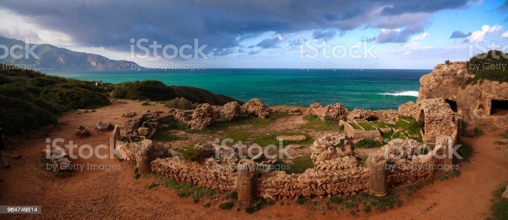 Ruin of old mausoleum in Tipasa, Algeria royalty-free stock photo