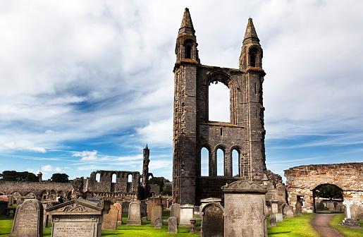 St Andrews, Scotland-September 14, 2013: Tourist visiting Ruin of St Andrews Cathedral in St Andrews Scotland
