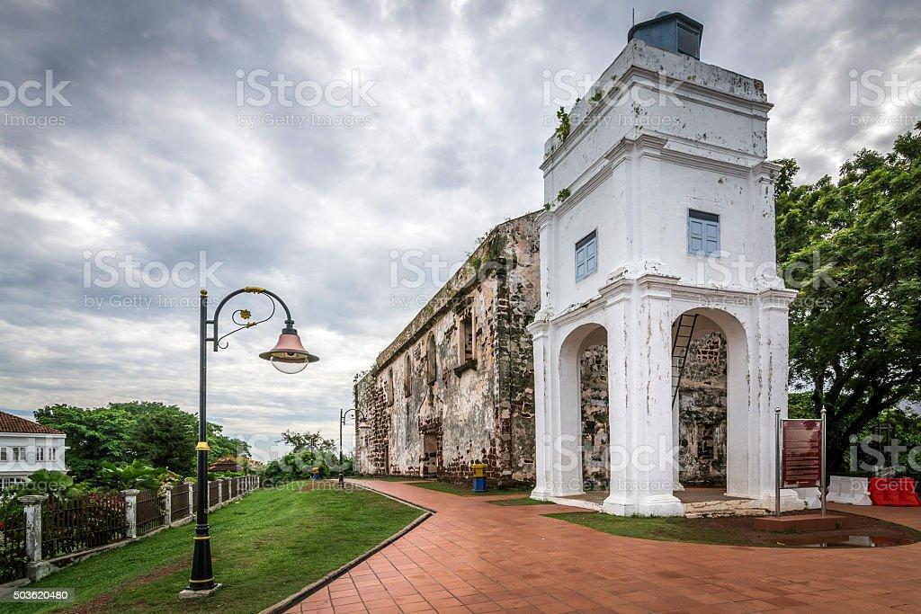 Ruin of St. Paul's church in Malacca stock photo