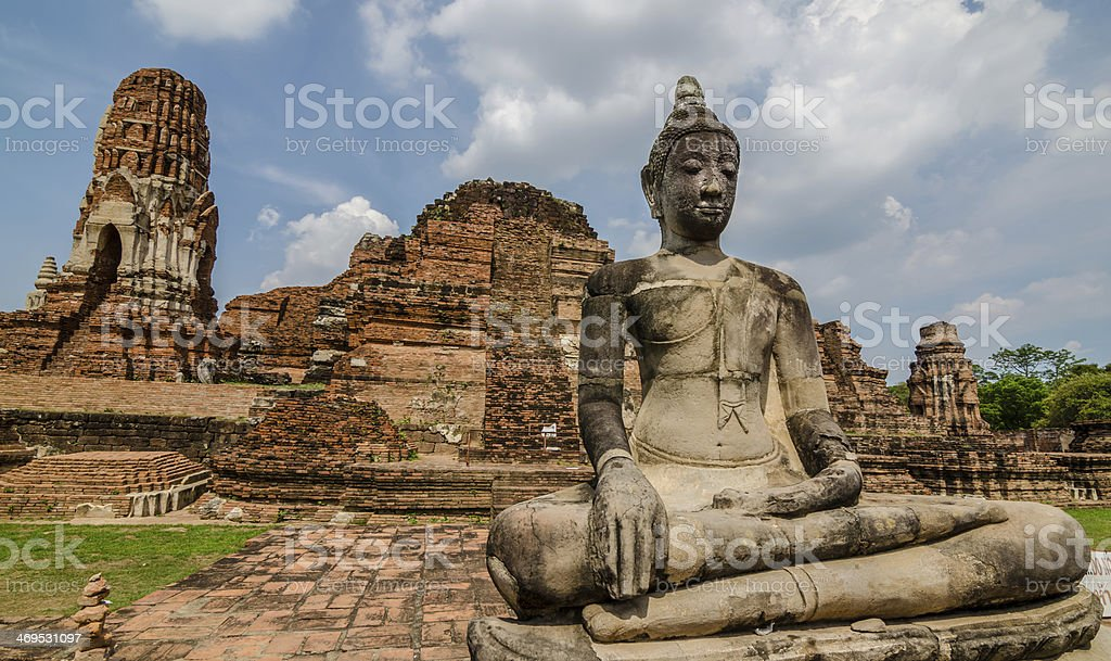 Ruin of temple in Ayutthaya, Thailand royalty-free stock photo