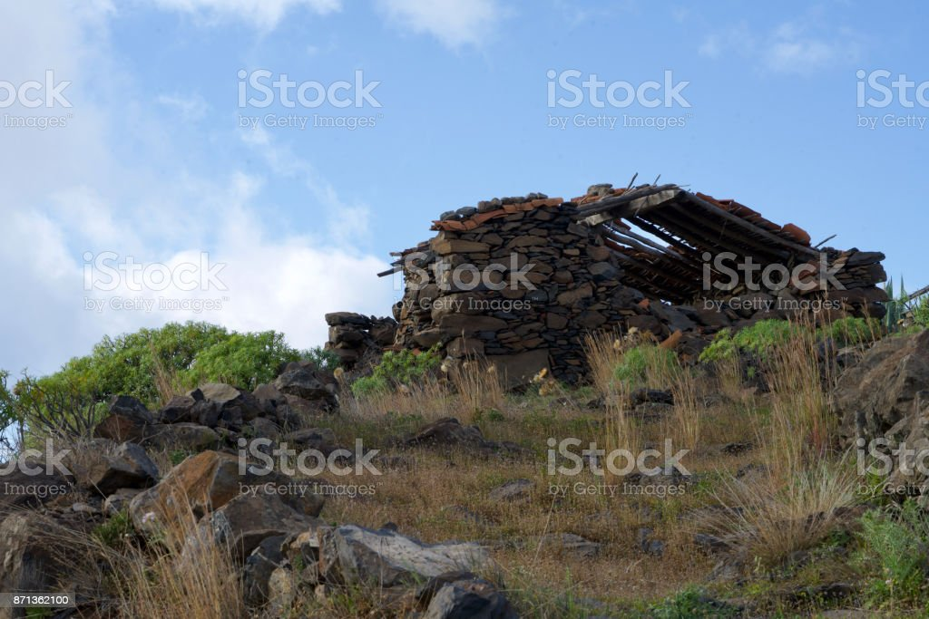 ruin on a hill stock photo