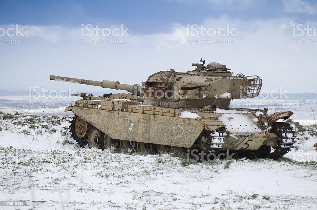 ruin tank from kippur war stock photo