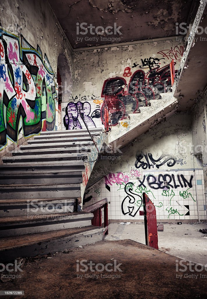 Ruin with dangerous stairway - HDR royalty-free stock photo