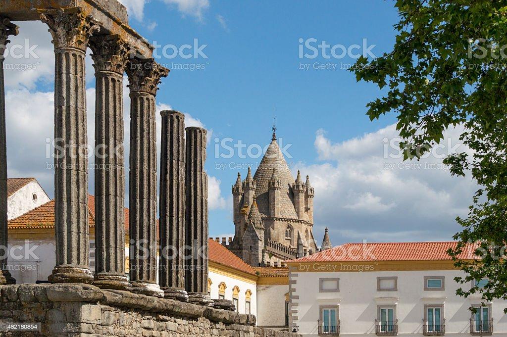 Ruine of a roman temple in Evora, Portugal stock photo