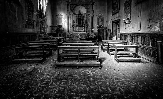 Interior abandoned church in ruins, construction and architecture