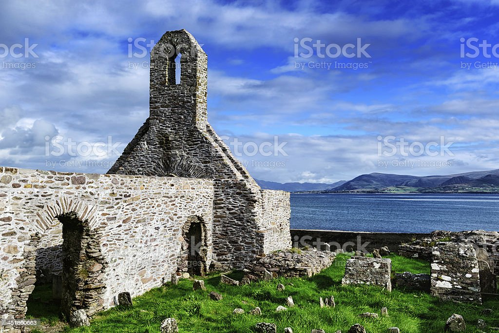 Ruined Abbey at Ballinskelligs, Ireland royalty-free stock photo