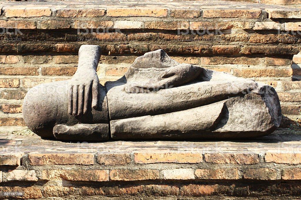 ruined ancient buddha statue at ayutthaya, Thailand stock photo