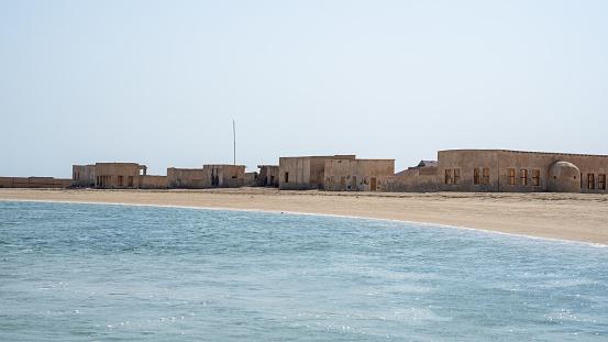 Ruined ancient old Arab building in Al Mafjar, Qatar. Old village ruins