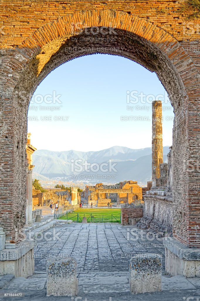 Ruined ancient Roman city of Pompei, engulfed by Vesuvius in AD 79 (UNESCO World Heritage Site) stock photo