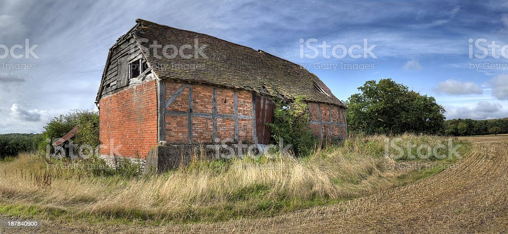 Ruined barn, England stock photo