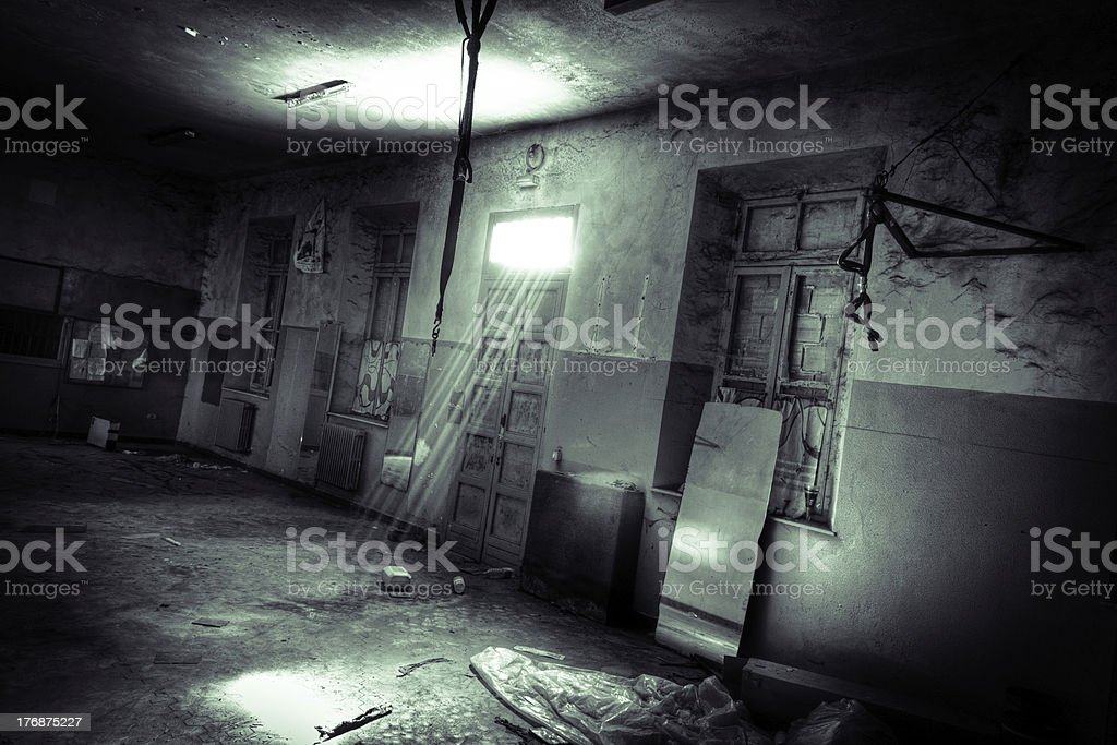 Ruined boxing gym. stock photo