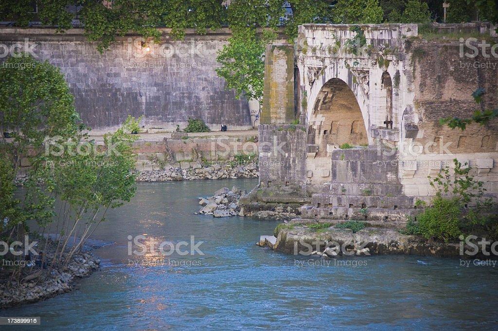 Ruined Bridge over Tiber stock photo