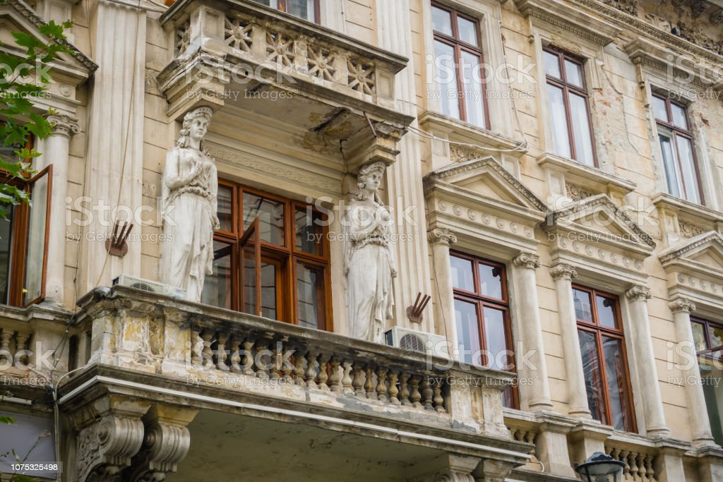 Ruined building facade, Bucharest stock photo