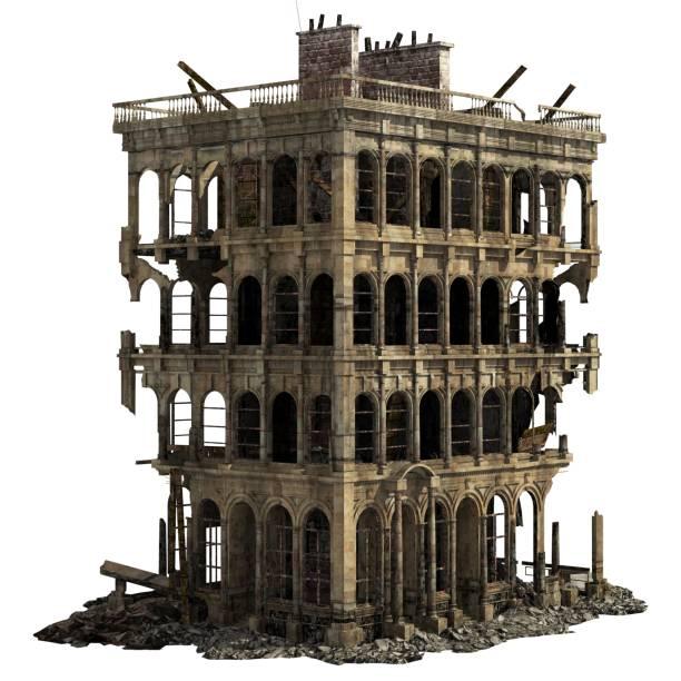 白い 3 d イラストを分離した廃墟 - 遺跡 ストックフォトと画像