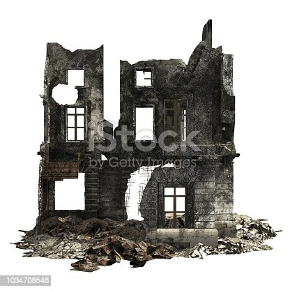 3D Illustration Ruined Building Isolated On White