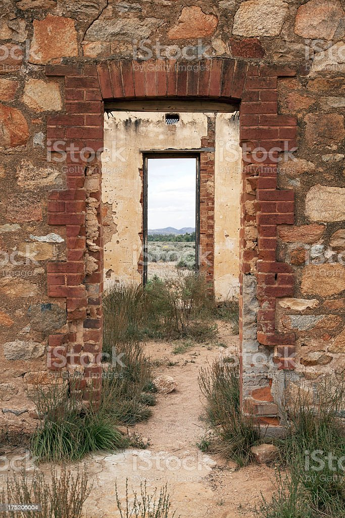 Ruined building with view at Silverton, Australia stock photo