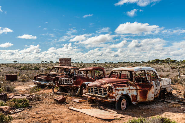 Ruined Cars on the Station stock photo