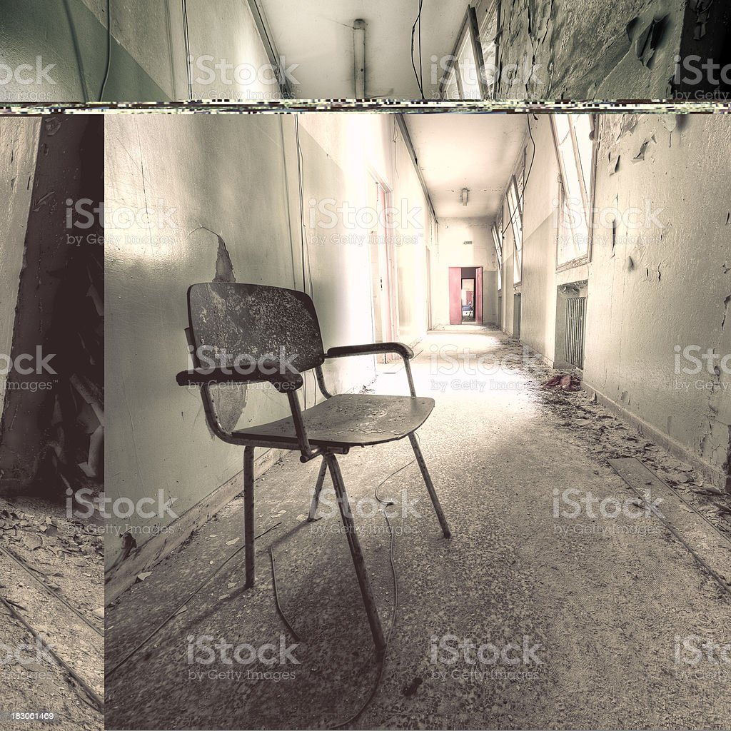 Ruined Chair Abandoned Building Corridor Grunge Architecture Nobody royalty-free stock photo