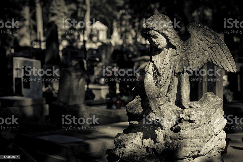 Ruined Cherub and cemetery background royalty-free stock photo