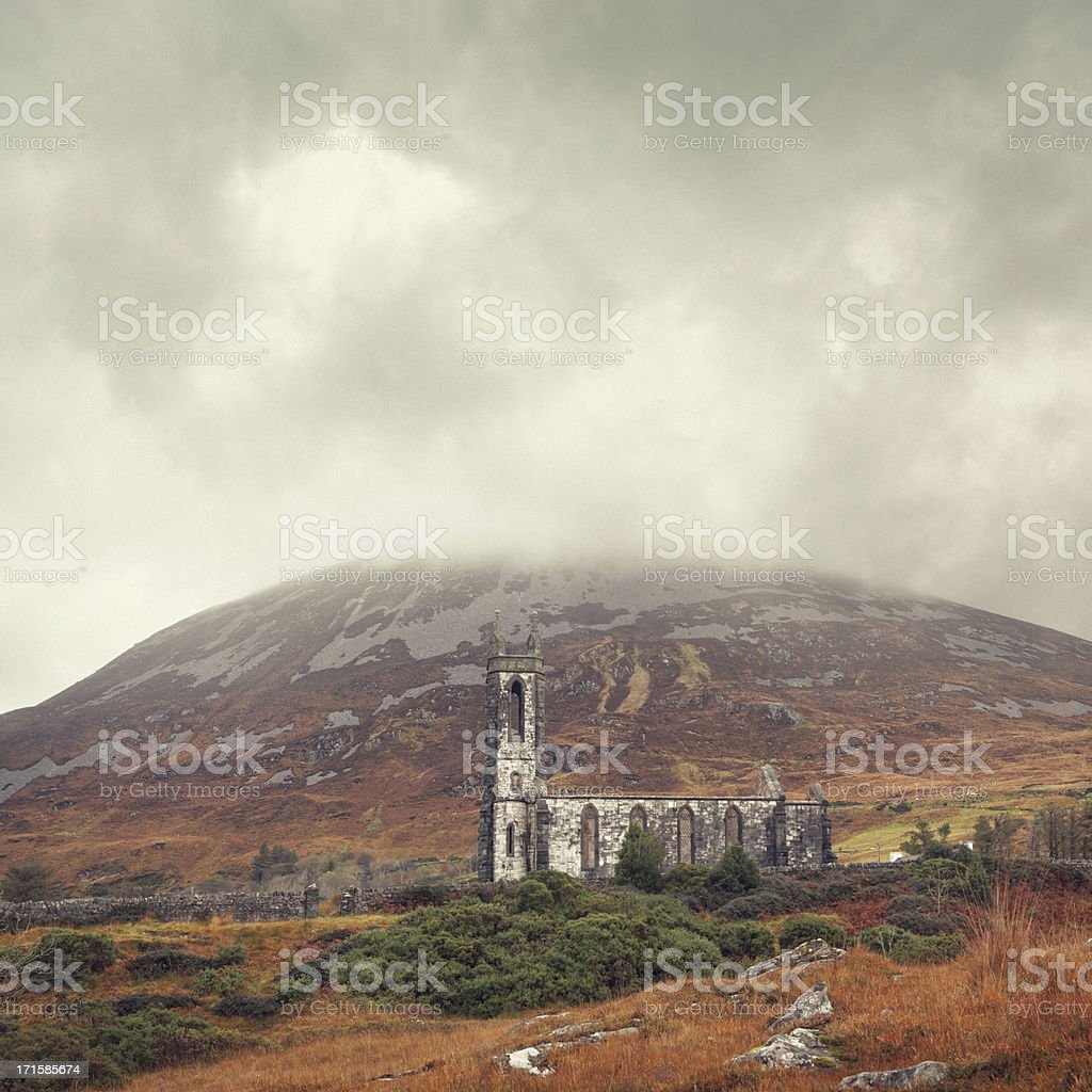 ruined church in Ireland stock photo