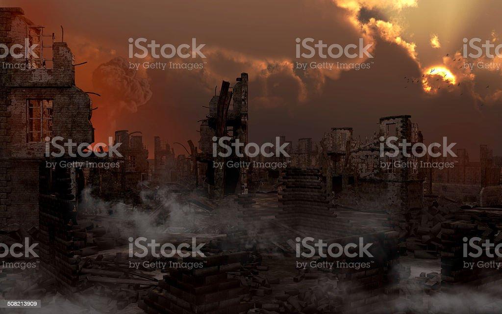 Ruined city with smoke stock photo