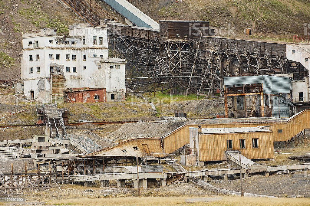 Ruined coal mine in the abandoned town Pyramiden, Norway. stock photo
