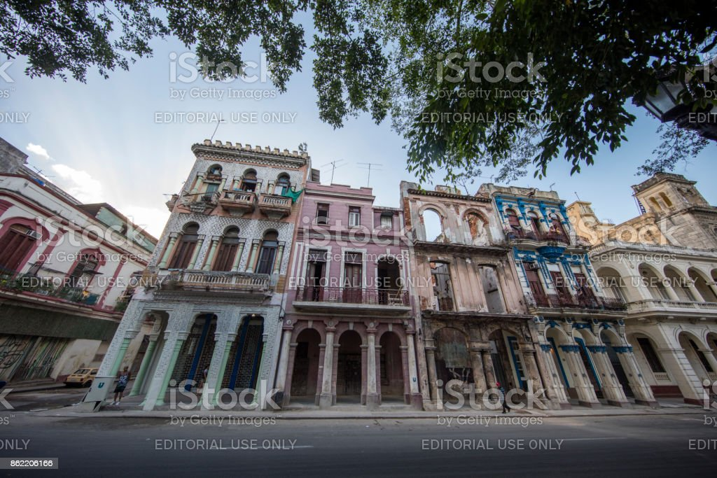 Ruined colonial Building in Havana stock photo