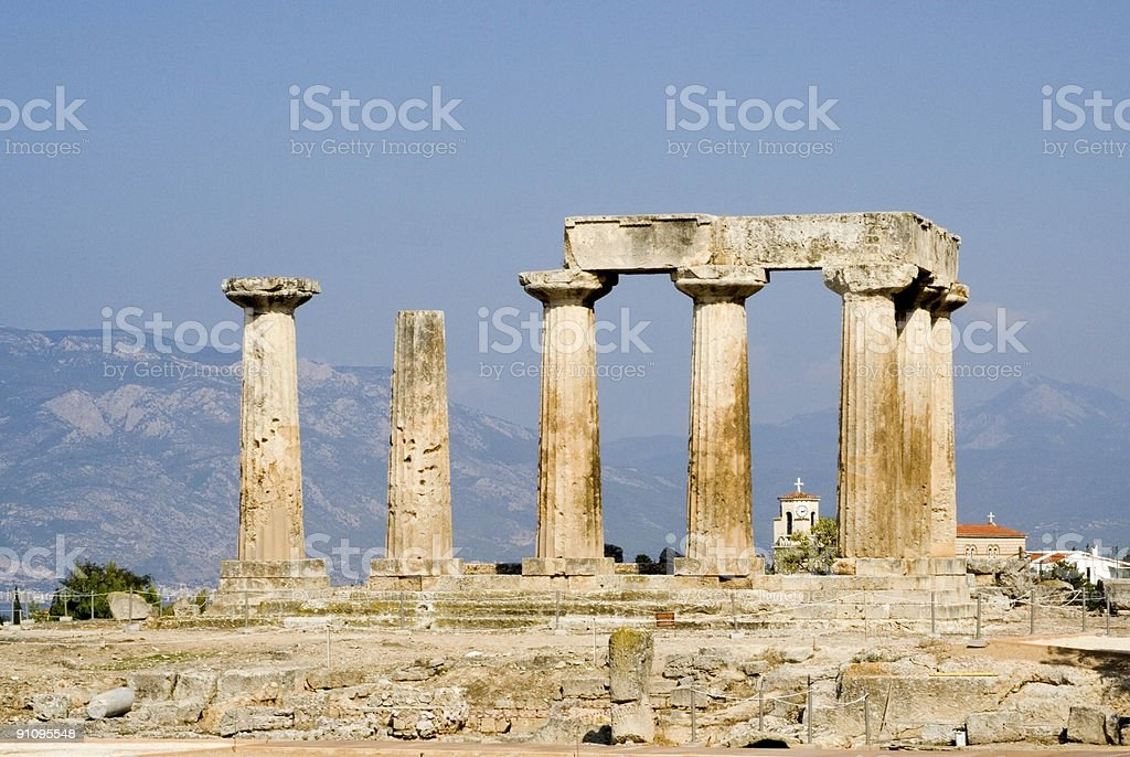 ruined columns of ancient tample in corinth stock photo