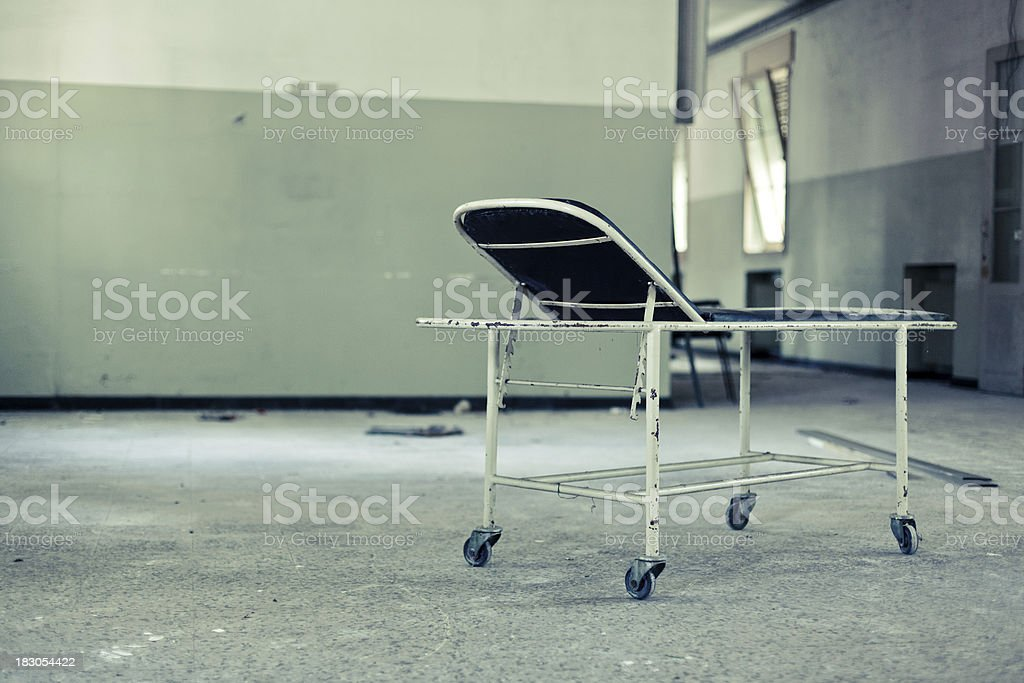 Ruined Cot in Abandoned Hospital Nobody stock photo