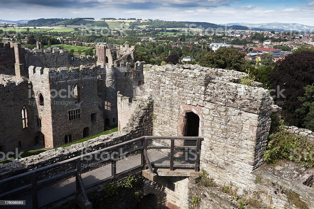 Ruined English Medieval Castle at Ludlow stock photo
