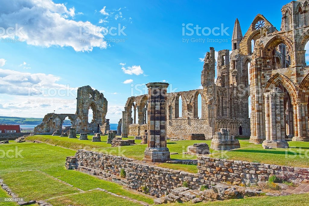 Ruined Entrance to Whitby Abbey in North Yorkshire in England stock photo