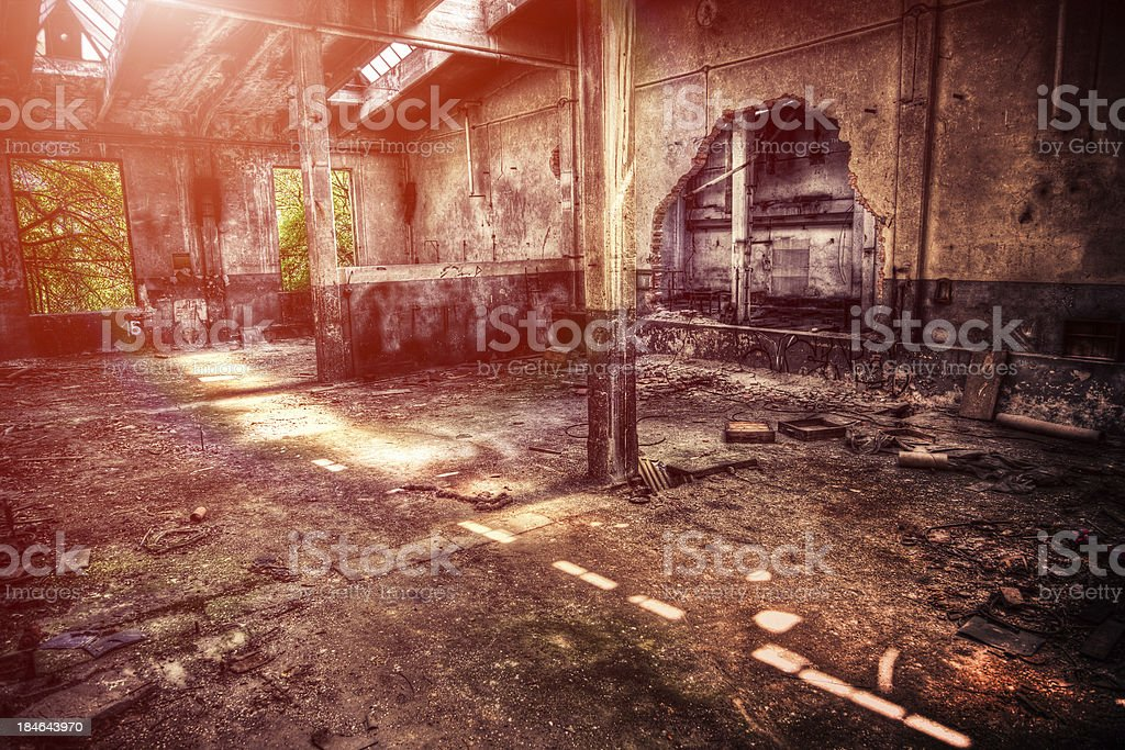 Ruined Factory, Abandoned Building, Rotten royalty-free stock photo