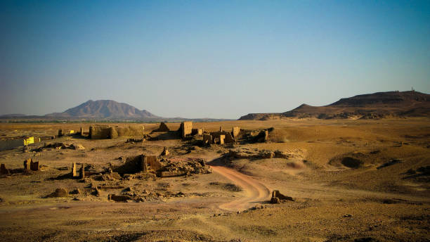 ruined fortress at the sai island, nile river, sudan - sudan stock photos and pictures