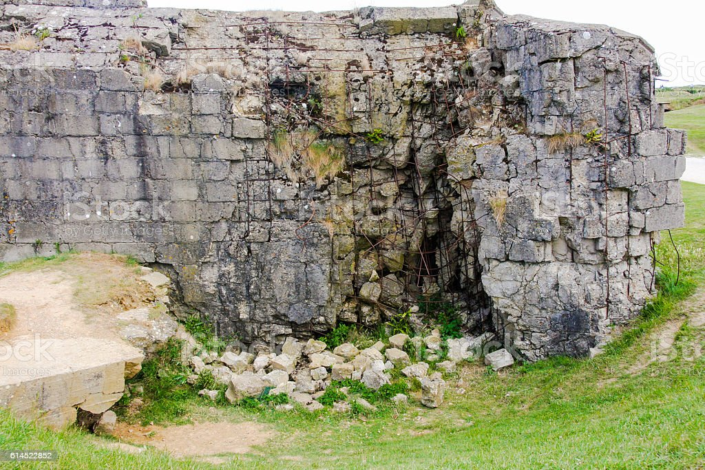 Ruined German Bunker, Pointe du Hoc, Normandy, France stock photo