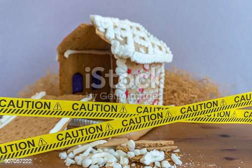 istock Ruined gingerbread house behind a police tape. Ruined walls, mortgage, credit, bankruptcy. 907057222