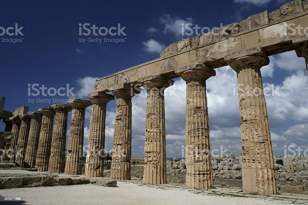 Ruined Greek Temple at Selinunte in Sicily royalty-free stock photo