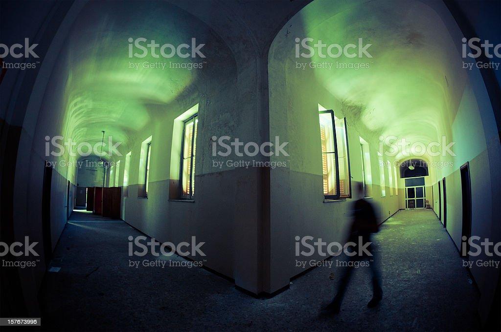 Ruined Hospital Corridor Architecture royalty-free stock photo