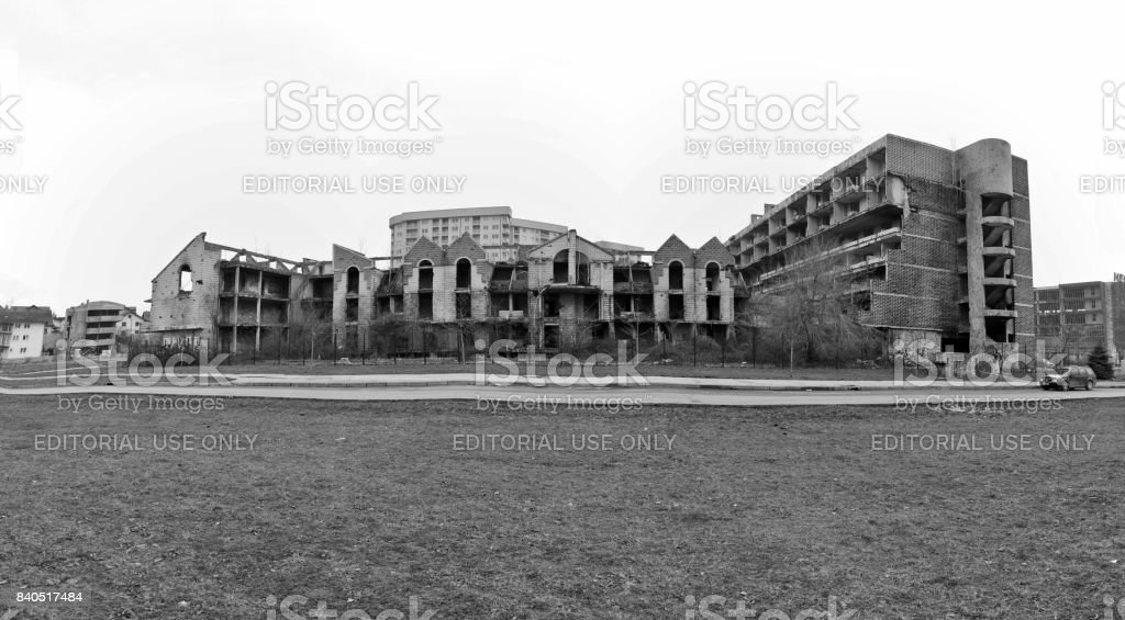 Ruined hospitals, schools and government buildings after war of the Bosnia and Herzigovina. Feb 2013 stock photo