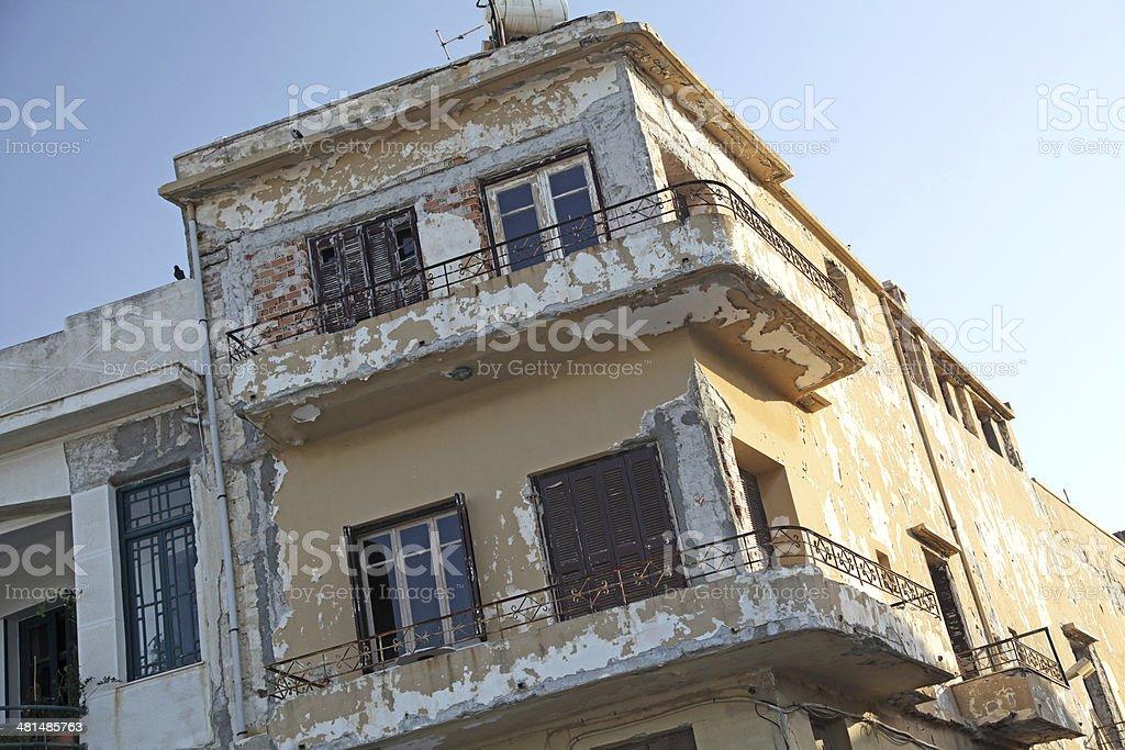 Ruined house at city Rethymno, Crete - Greece stock photo