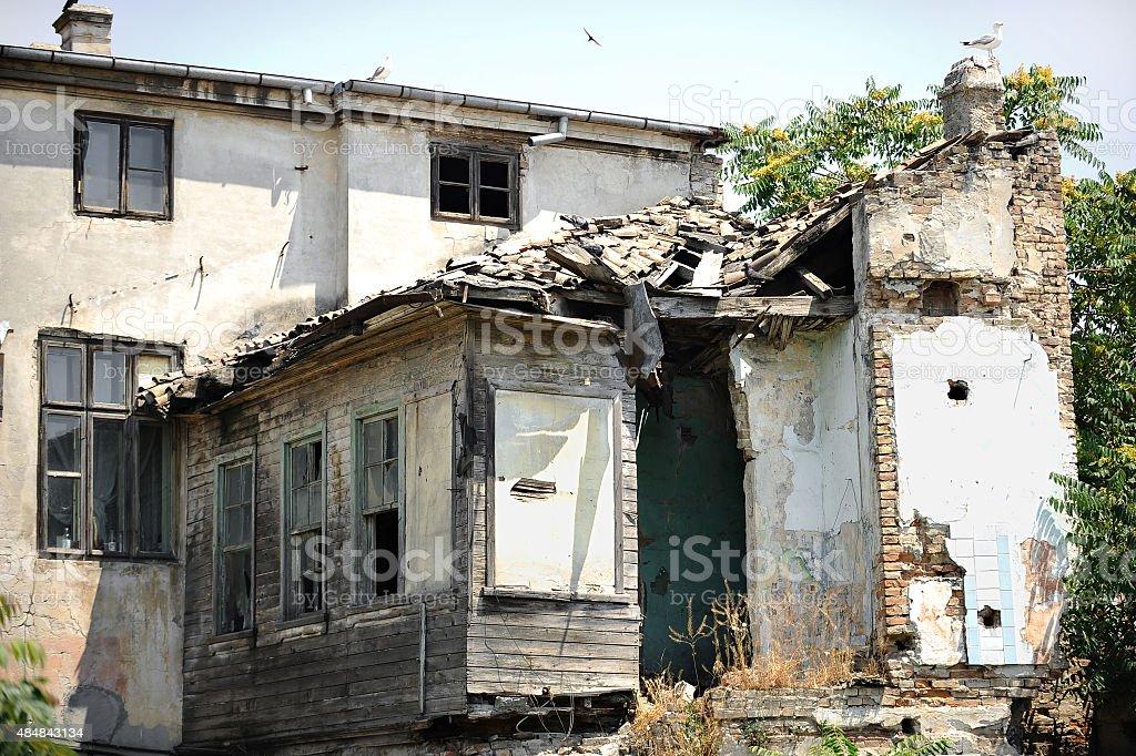 Ruined house facade stock photo