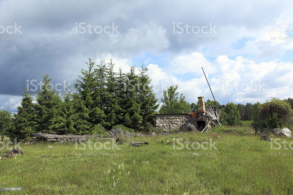 Ruined house. royalty-free stock photo