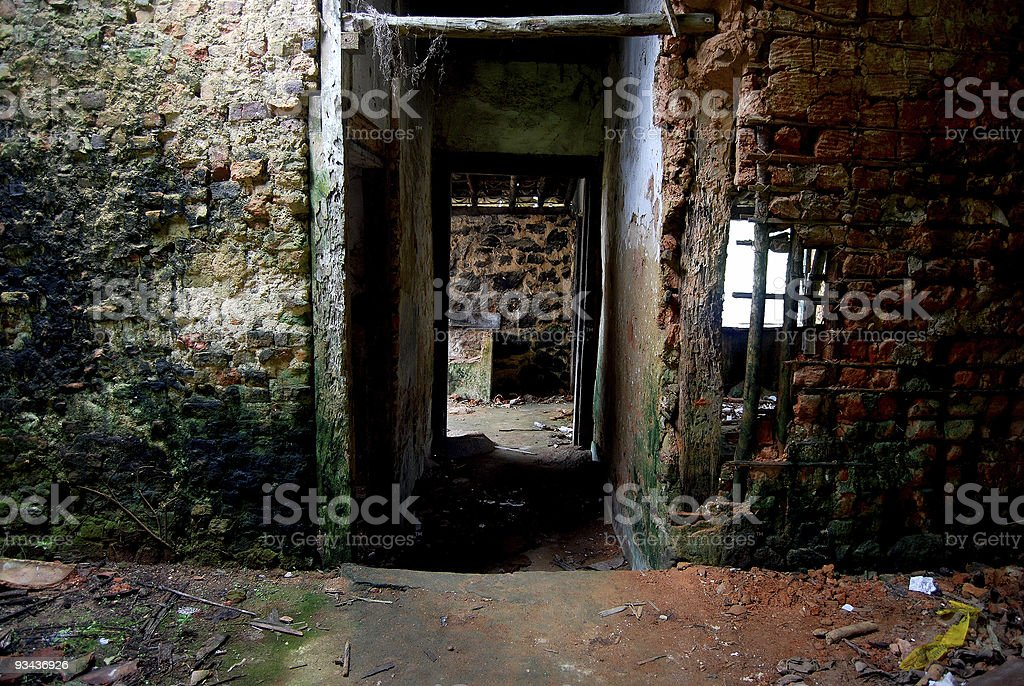 Ruined house stock photo