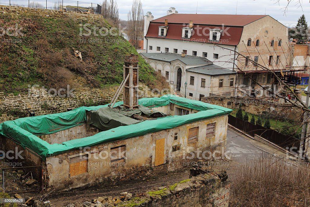 Ruined house under construction stock photo