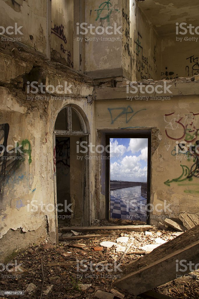 ruined house wiith view stock photo