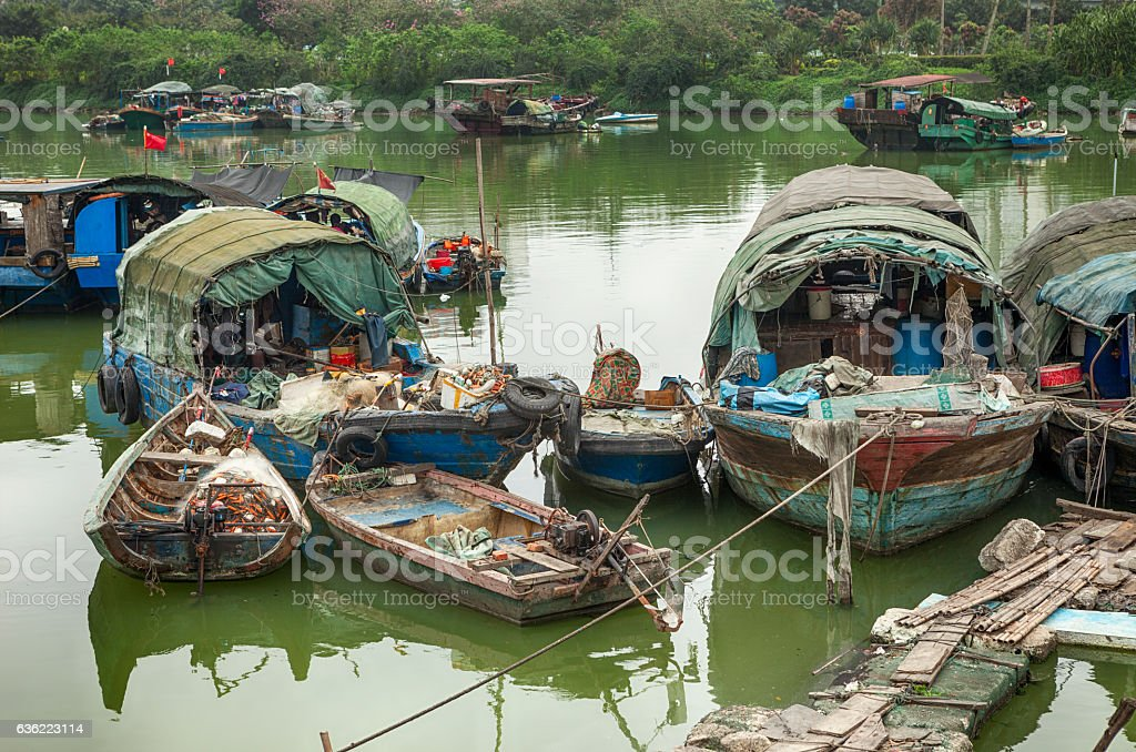 Ruined Houseboats in Haikou, China stock photo
